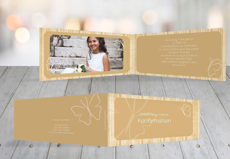 Kartenparadies Einladungskarte Konfirmation Butterfly 2, hochwertige Einladung zur Konfirmationsfeier inklusive Umschläge   10 Karten - (Format  215x105 mm) Farbe  MattGelb B01N5V96AL | Sonderaktionen zum Jahresende  | Erlesene Materialien  | Deuts