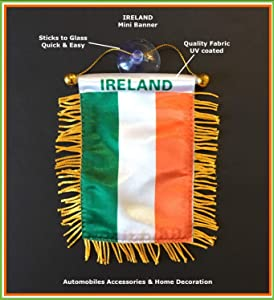 PRK 14 Irish Ireland Flags for Car & Home Mini Banner Automobile Charm Small Window Sticker Easy to use Sticks to Glass Quick Easy or Hang Ornament Wall Design Indoor Outdoor Decal Hanging Flag