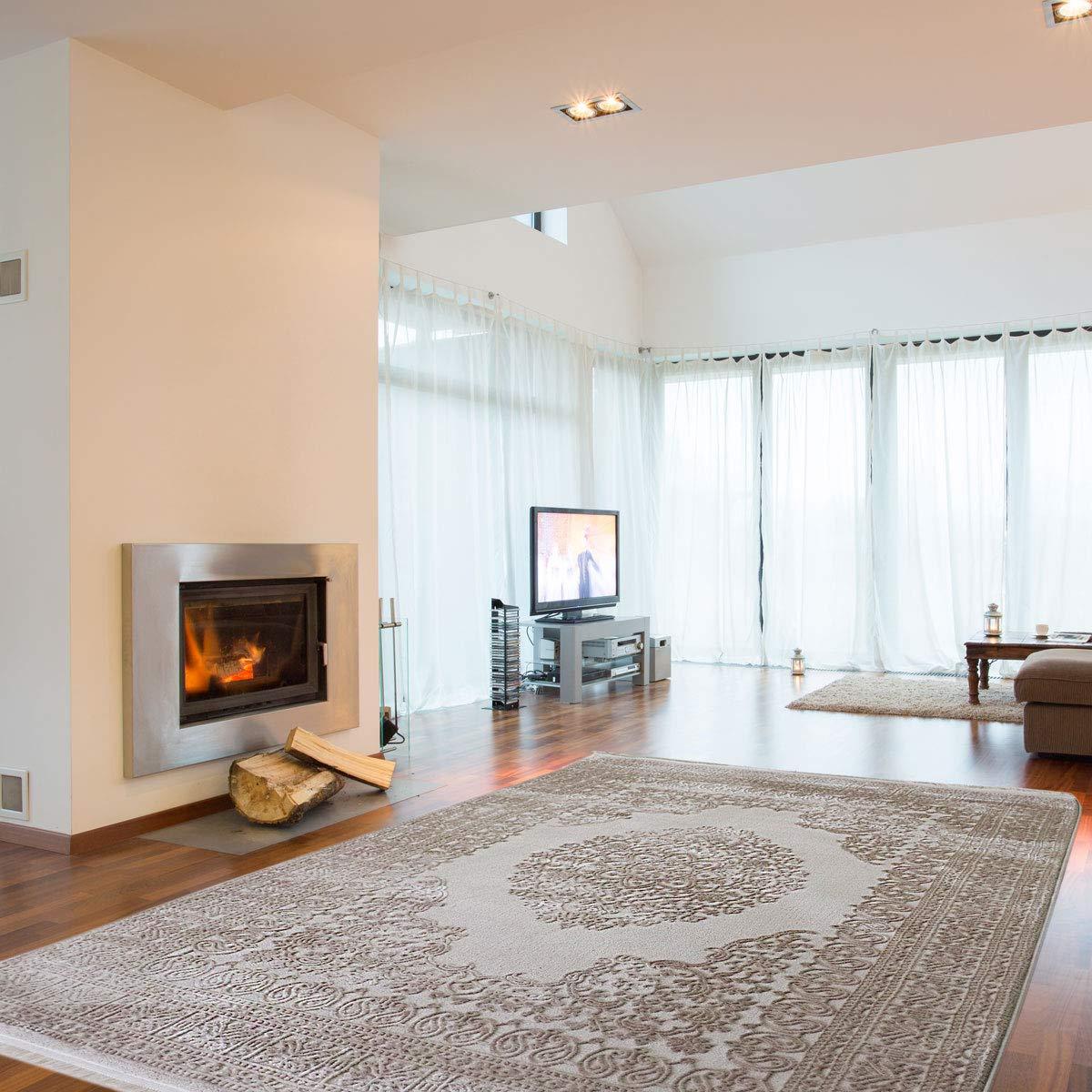 Mynes Home Vintage Teppich Velours in Beige Medaillon mit 3D Struktur Hochwertige Webung für Wohnzimmer Designerteppich (80 x 300 cm)