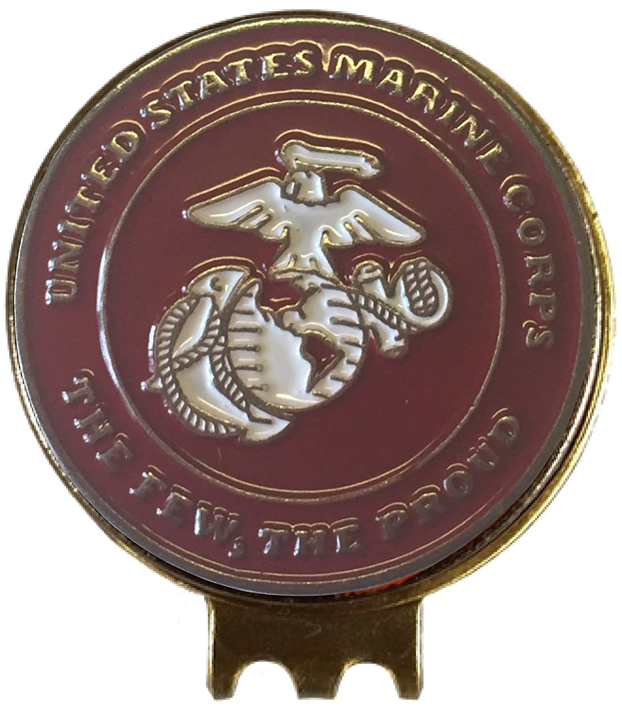 U.S. Marines ゴルフボールマーカー 帽子クリップ付き 愛国的 ミリタリー ギフトに最適   B07JGFWR7B