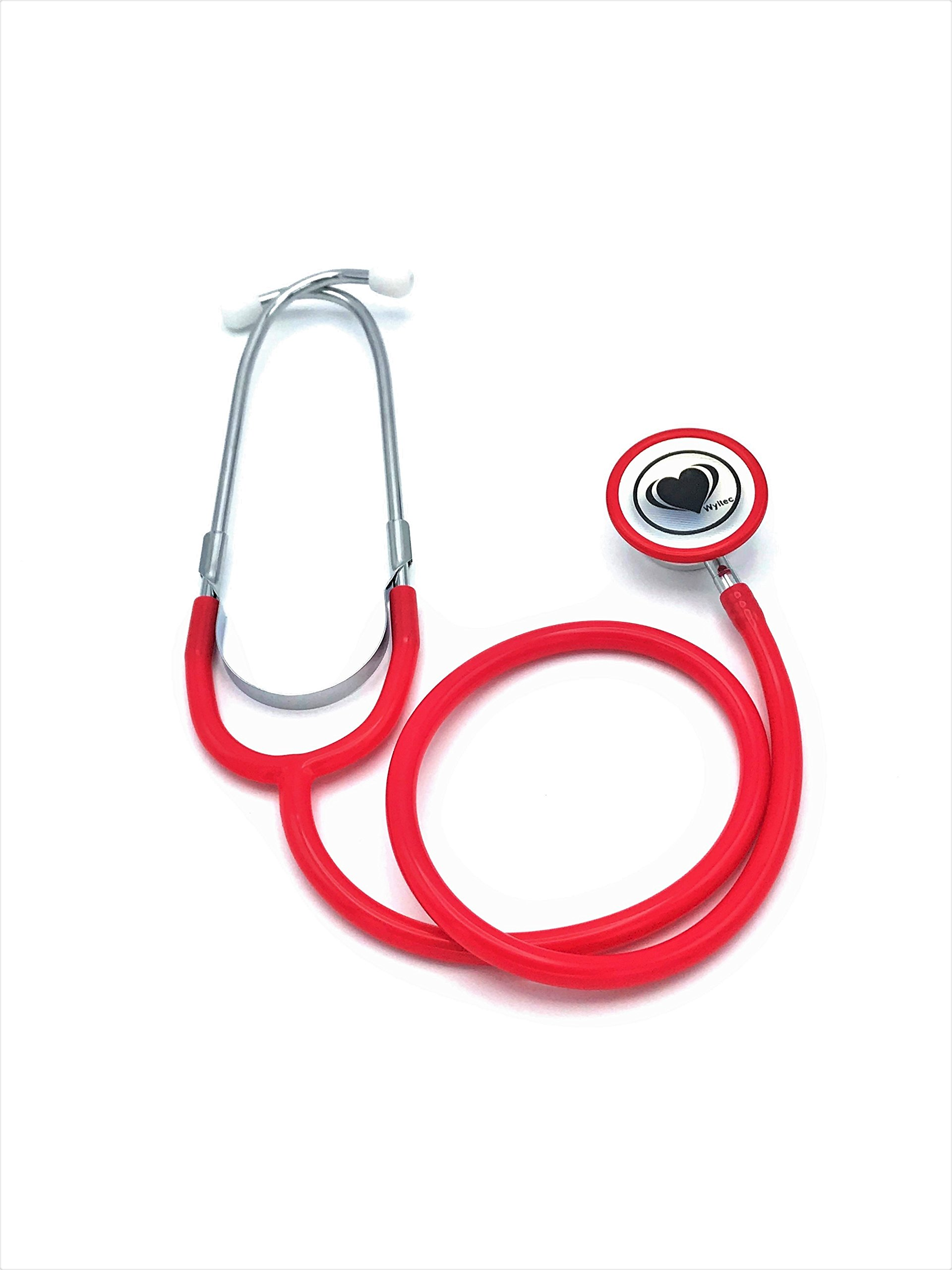 Wyltec Acoustica Deluxe Lightweight Dual Head Stethoscope - Latex Free - External Spring Binaural, Rimmed Non-chill Rings, and Quality Diaphragm - (Red)