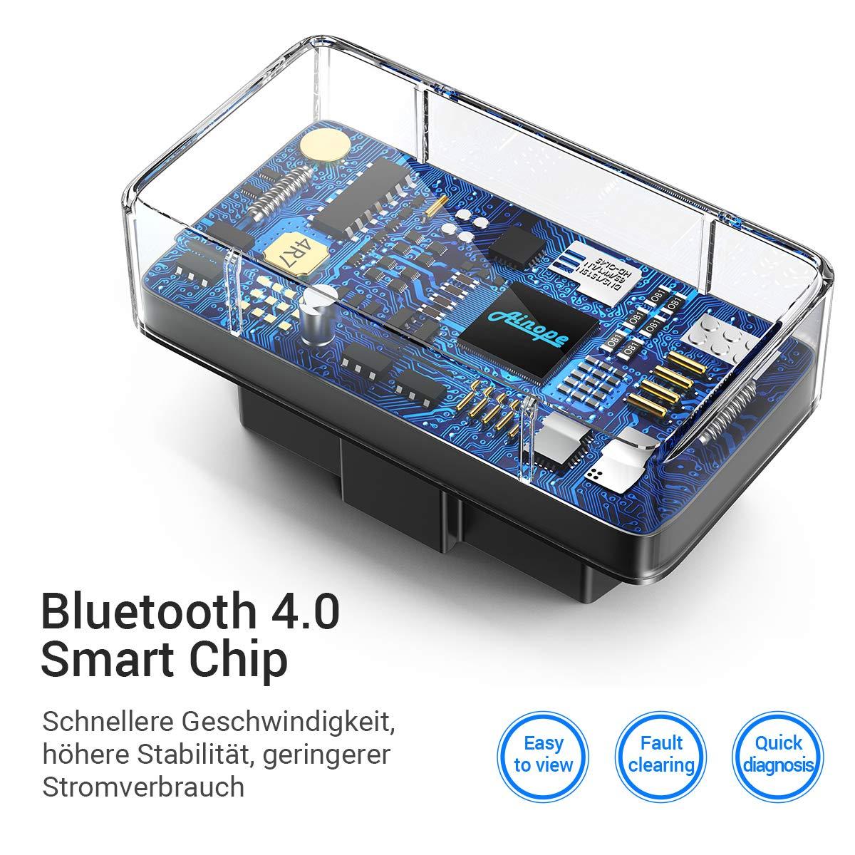 OBD2 Bluetooth Esc/áner Bluetooth 4.0 Adaptador Para Lector de C/ódigos Herramienta de Diagn/óstico para Coche Esc/áner Compatible con dispositivos iOS// Android// Windows /& Symbian por Ainope