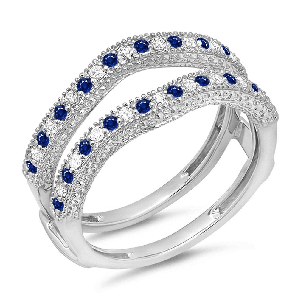 Dazzlingrock Collection 14K Round Blue Sapphire & White Diamond Ladies Wedding Millgrain Guard Ring, White Gold, Size 5.5 by Dazzlingrock Collection