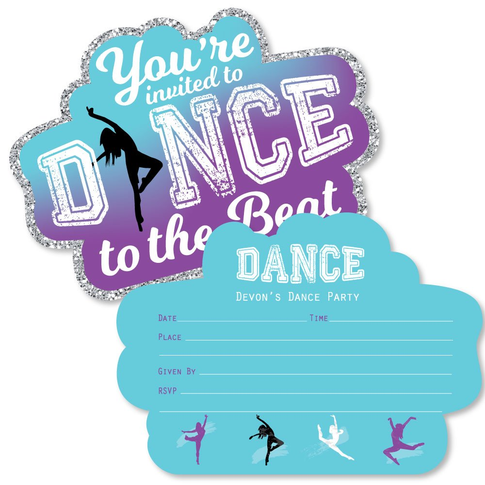 Custom Must Dance to the Beat - Dance - Personalized Dance Party or Birthday Party Invitations - Fill In Invitation Cards with Envelopes - Set of 12