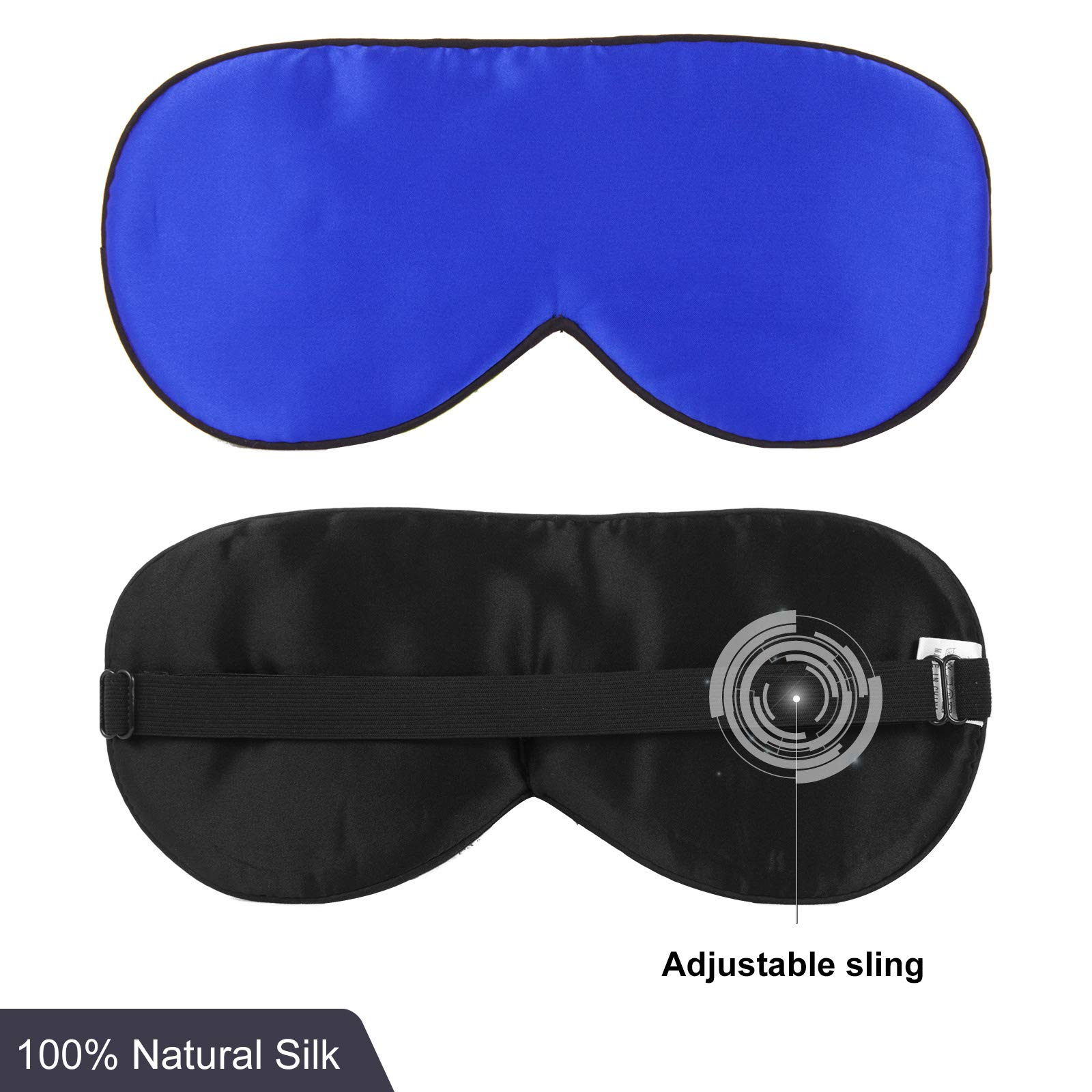 Silk Sleep Mask Adjustable Strap Comfortable Night Sleeping Reversible Lightweight and Super Soft Eye Mask Night Blindfold Eyeshade for Men Women Kids for Travel Airplane Shift Work Naps, Blue