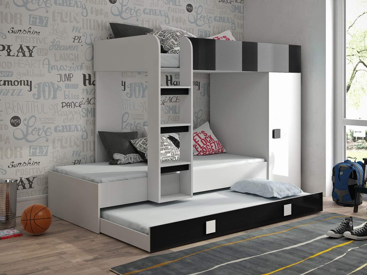 Etagenbett für Kinder TOLEDO 2 Stockbett mit Treppe und Bettkasten KRYSPOL (Weißszlig; + Schwarzr Glanz) Weiß + Schwarzr Glanz