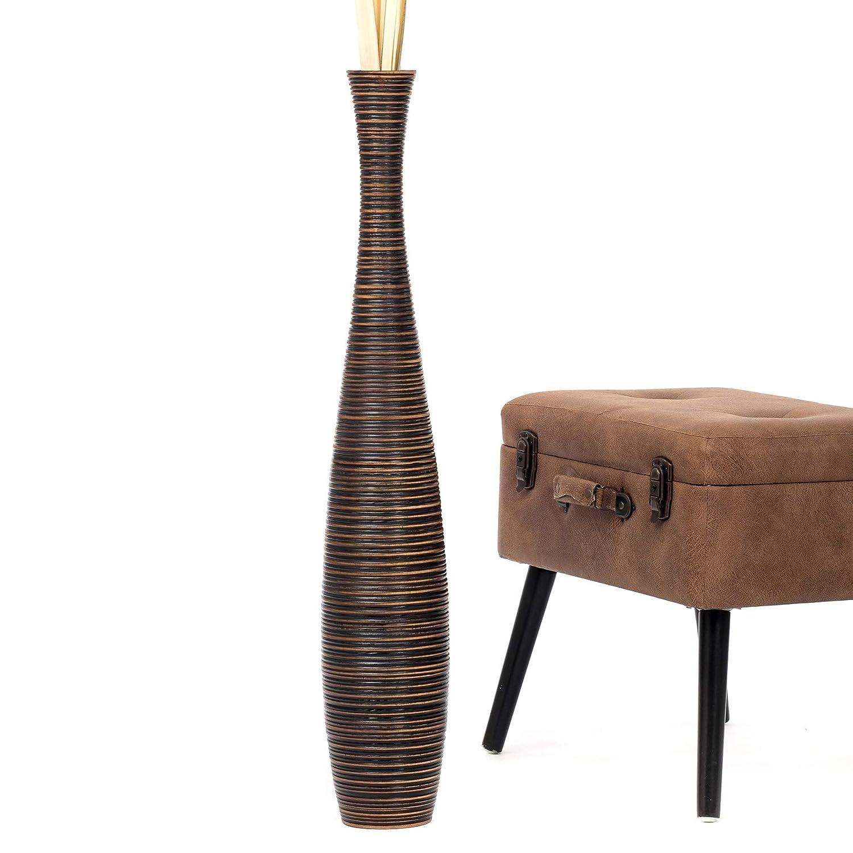 Leewadee Tall Big Floor Standing Vase For Home Decor, 6x36 inches, Wood, brown