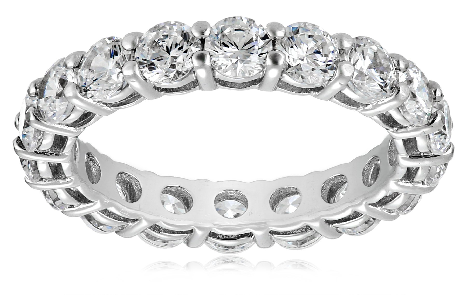 Platinum-Plated Sterling Silver All-Around Band Ring set with Round Swarovski Zirconia (3 cttw), Size 6 by Amazon Collection
