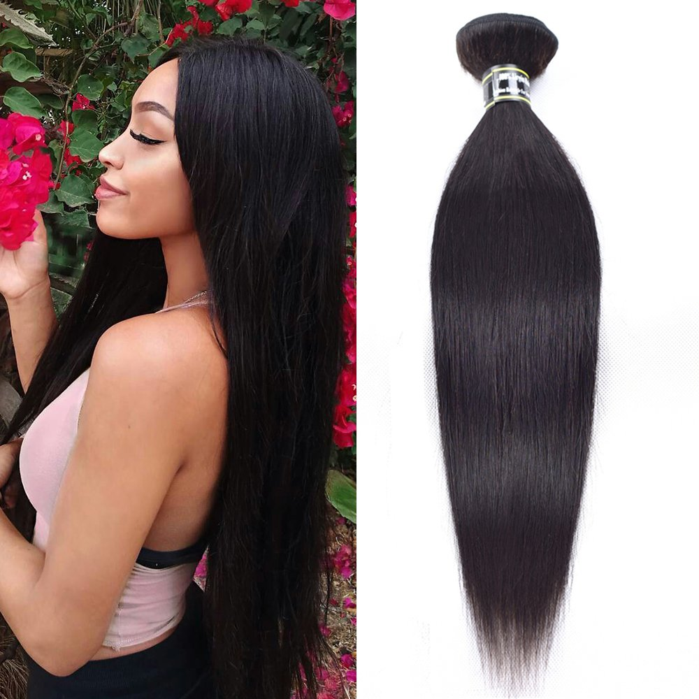 Star Show Hair Straight Hair Bundle Brazilian Virgin Hair Straight Human Hair Weave Single Bundle Can Be Dyed and Bleached (8 inch)