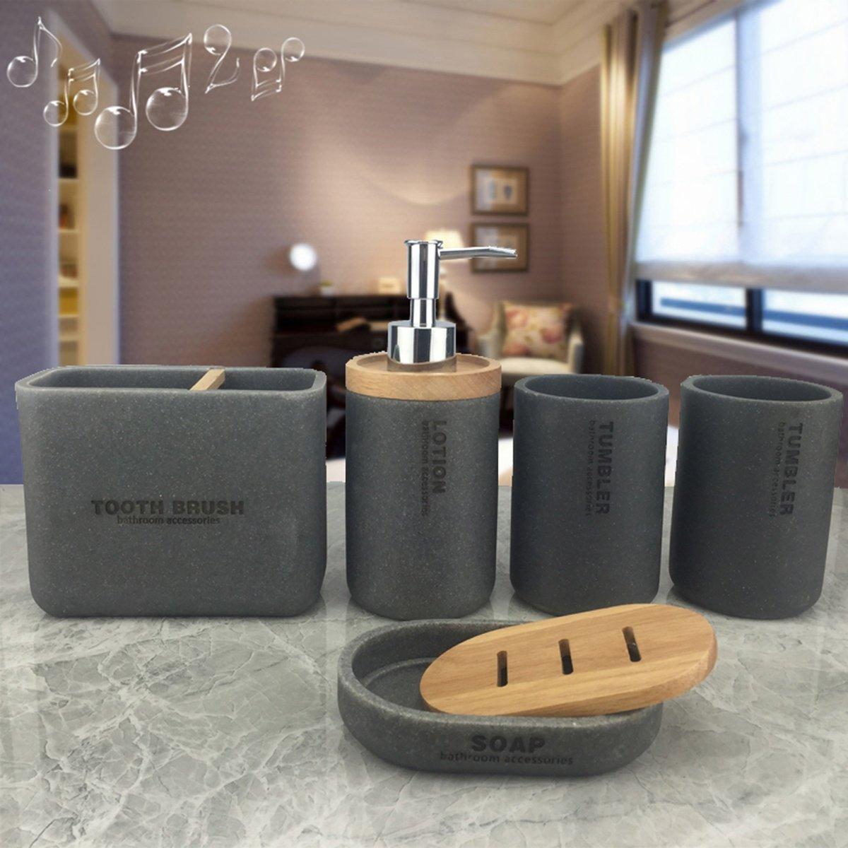 PLYY Accessori per il bagno, realizzati in resina, con dispenser per sapone, tazza per spazzolino, portasapone, set da bagno di lusso, per l'arredamento, ottimo regalo, white per l' arredamento QWER