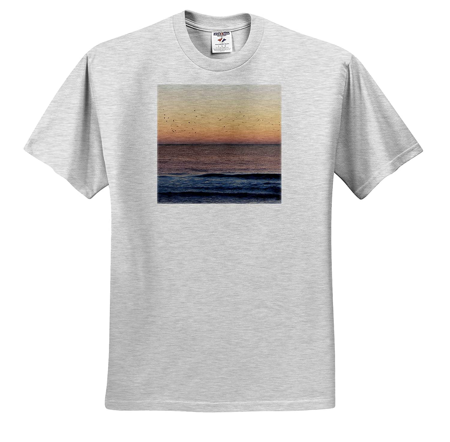 3dRose Stamp City Beach Photo of a Flock of Seagulls Flying at Sunrise at The Jersey Shore - T-Shirts