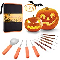 Pumpkin Carving Kit, 10 Pcs Durable Stainless Steel Pumpkin Carving Stencils for Halloween Decorations, Advanced Wood Carving Tools Kit for Easily Sculpting and Storage