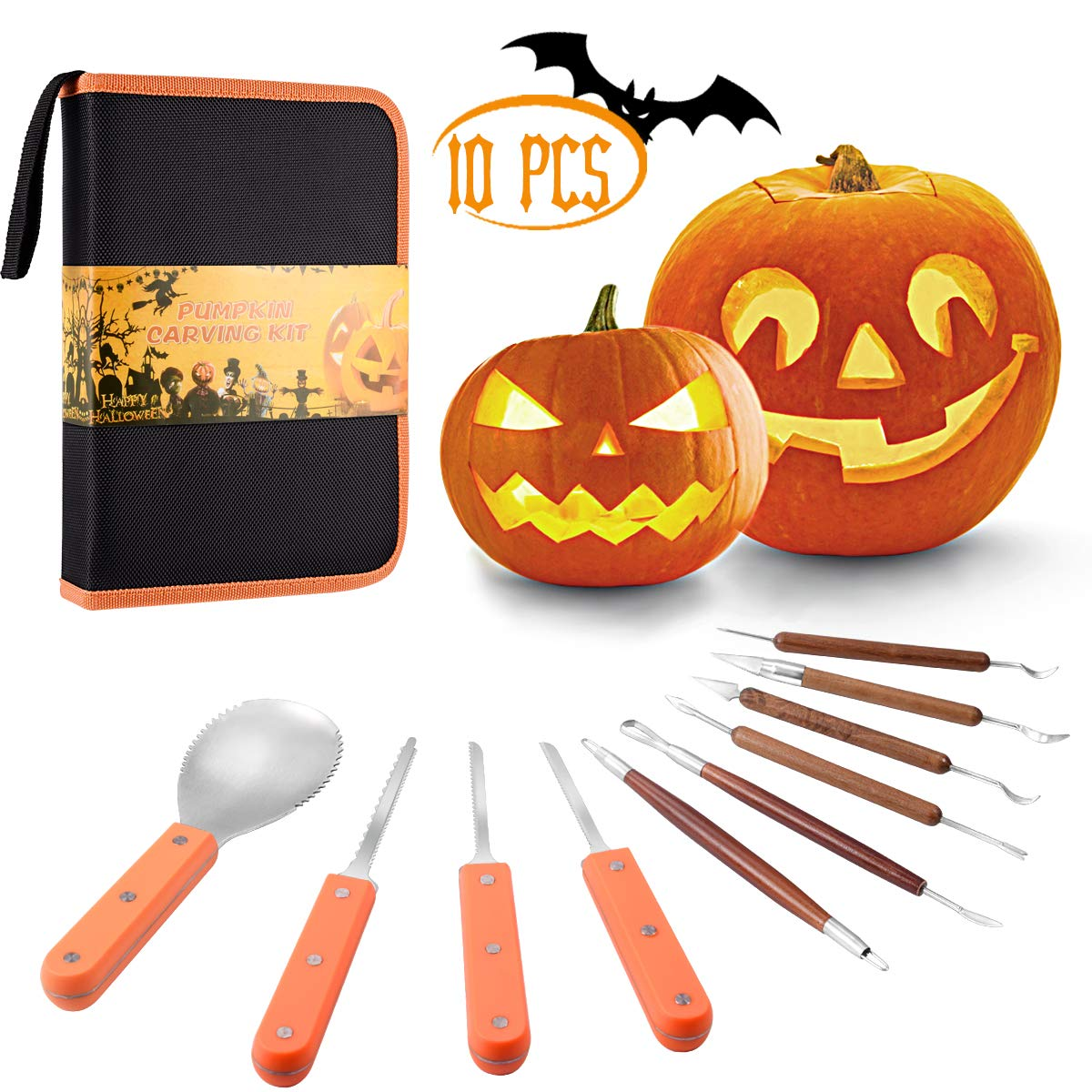 Pumpkin Carving Kit, 10 Pcs Durable Stainless Steel Pumpkin Carving Stencils for Halloween Decorations, Advanced Wood Carving Tools Kit for Easily Sculpting and Storage by Holiky