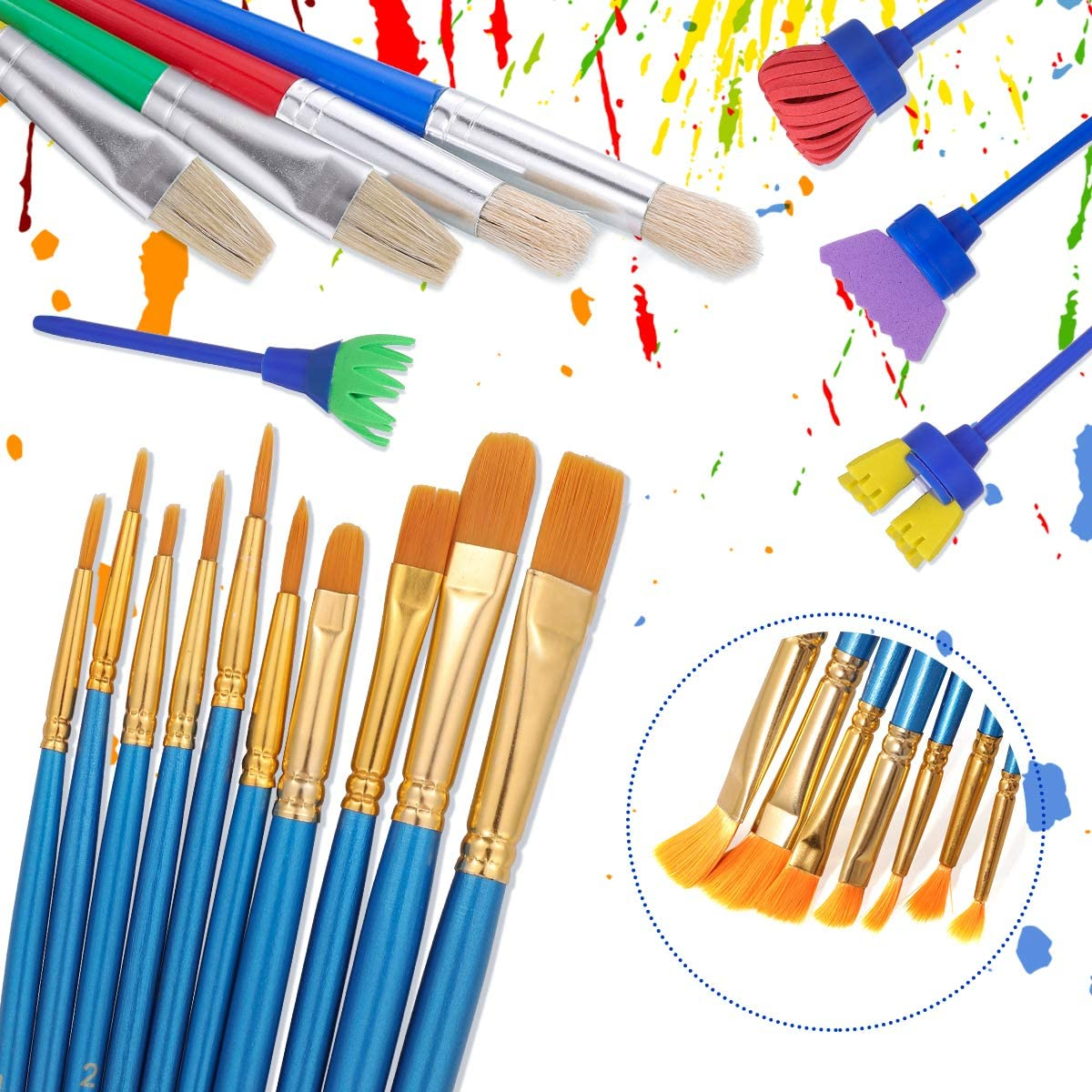 STOBOK 37pcs Kids Painting Tool Kit,Paint Supplies Include Paint Cleaning Cups,Tray,Palette,Multi Sizes Paint Pen,Brushes Set for Child//Toddler Art Class Painting,School