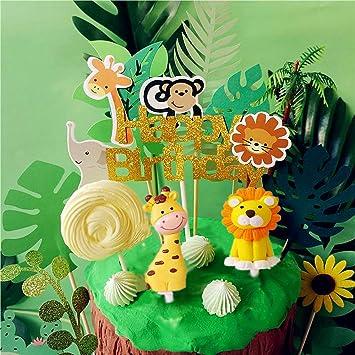 Amazon.com: LaVenty Jungle Safari - Juego de 10 decoraciones ...