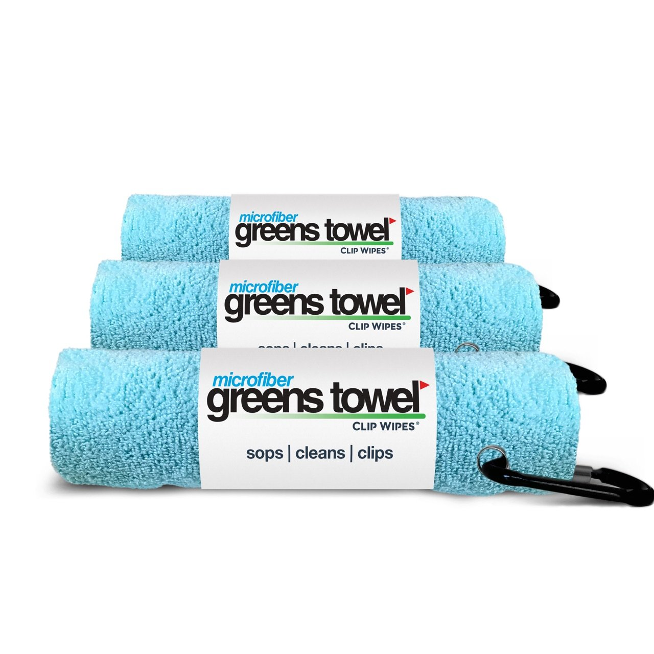Greens Towel Microfiber (3 Pack), Caribbean Blue 16'' X 16'' with Carabiner Clip. by Greens Towel