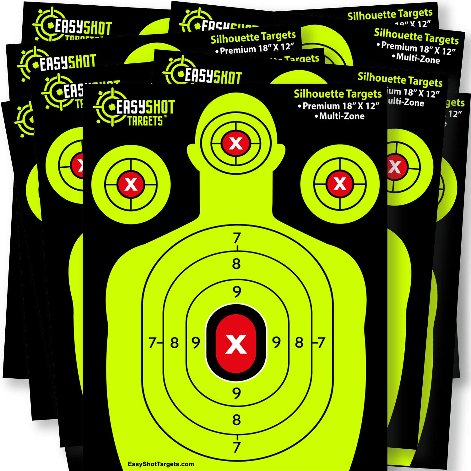 EASYSHOT Shooting Targets 18 X 12 inch. Shots are Easy to See with Our High-Vis Neon Yellow & Red Colors. Thick Silhouette Paper Sheets for Pistols, Rifles, BB Guns, Airsoft, Pellet Guns & More. by EasyShot Targets (Image #3)