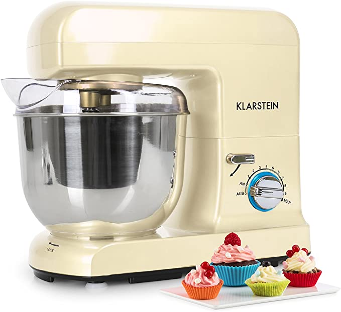 Klarstein Gracia Morena - Robot de cocina, Batidora, Amasadora, 1000 W, 5 L, 1,3 PS, Batido planetario, 10 niveles de velocidad, Recipiente de acero inoxidable, Varillas de metal, Crema: Amazon.es: Hogar
