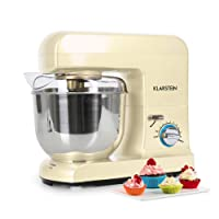 Klarstein Gracia Morena Kitchen Food Mixer with 10-Stage Adjustable Working Speeds and Various Attachments Easy-to-Clean (1000W, 5L Bowl for Max. 2kg Dough, Extremely Quiet) Cream