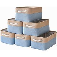 "pulnimus Fabric Storage Baskets Set [6 Pack] Small Storage Bins, Nursery Baskets 12""x 8"" x 5""Cloth Baskets for Baby…"