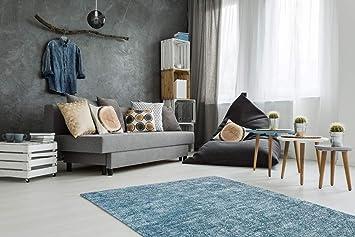 Amazon.de: Teppich Flachflor modern im Vintage-Design meliert in ...