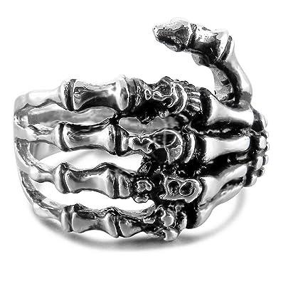 MunkiMix Acero Inoxidable Anillo Ring Banda Venda El Tono De Plata Negro Cráneo Calavera Mano Hand Hueso Hombre