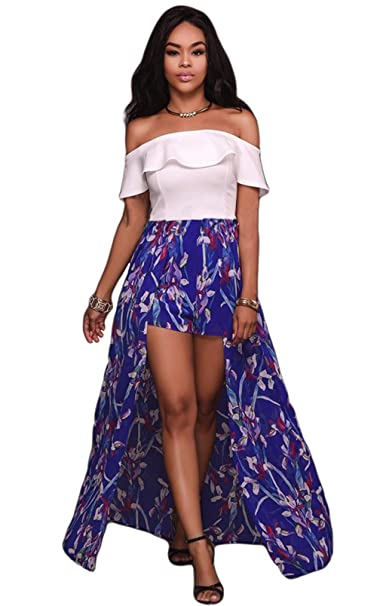 9246cec3dd97 Olaron Women Sexy Off Shoulder Jumpsuit Ruffle Plain Floral Maxi Skirt  Overlay Romper Playsuit White XLarge