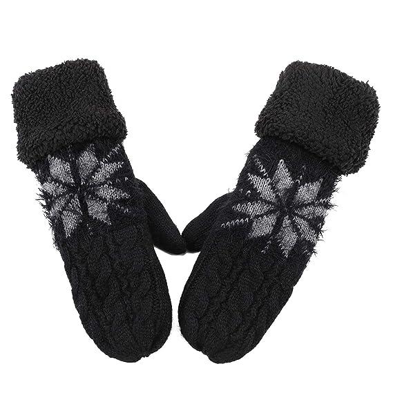 85de1bf3ff Damen Handschuhe warme Fäustlinge Wolle mit Plüsch Fleecefutter  Schneeflocke Zopfmuster modisch Wollhandschuhe weich Frauenhandschuhe  Strick ...