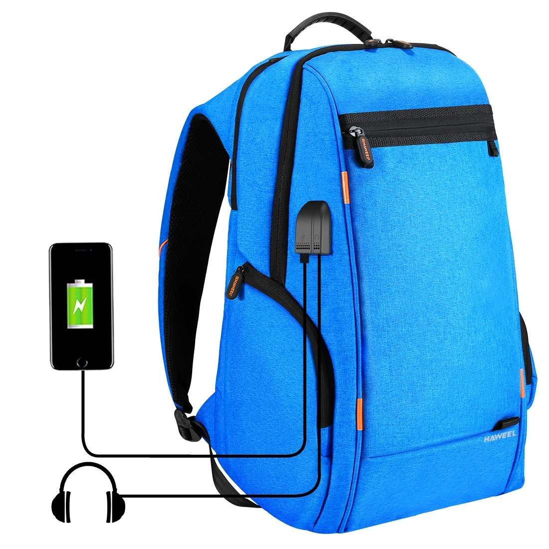 HAWEEL Outdoor Multi-function Solar Panel Power Breathable Casual Backpack Laptop Bag School Bookbag for College Travel Backpack, With USB Charging Port & Earphone Port (Blue) by HAWEEL (Image #1)