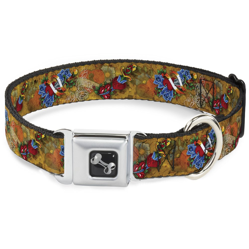 Buckle-Down Seatbelt Buckle Dog Collar TJ-Hearts & pinks 1  Wide Fits 15-26  Neck Large