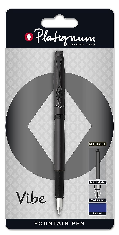 Platignum-Penna stilografica motivo nero colore Vibe