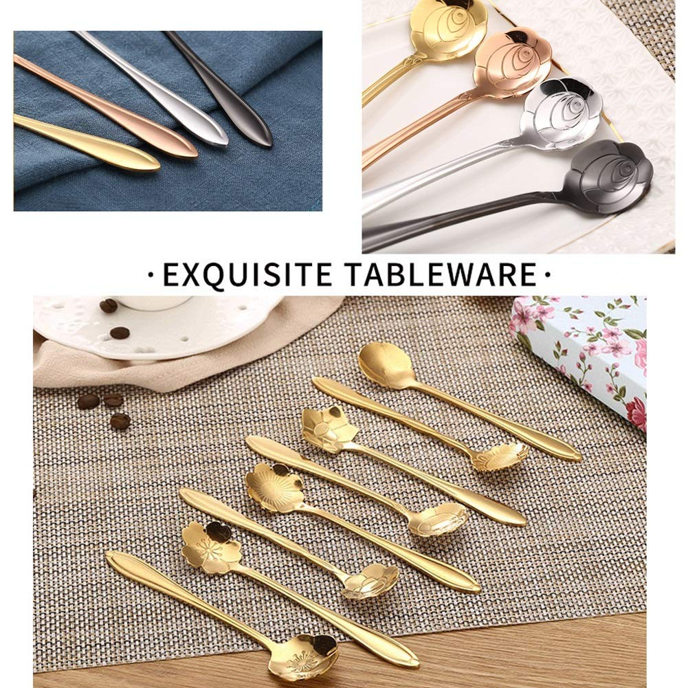 WDNMD Stainless Steel Desert Spoon Long Handle Coffee Spoons Set Flower Shape Dinner Spoon Smooth Curve Tea Spoon ZR-55 (Gold) by WDNMD (Image #6)