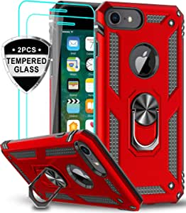 LeYi iPhone 6s/ 6 Case, iPhone 7 Case, iPhone 8 Case with Tempered Glass Screen Protector [2Pack], Military Grade Protective Phone Case with Ring Car Mount Kickstand for Apple iPhone 6/6s/7/8, Red