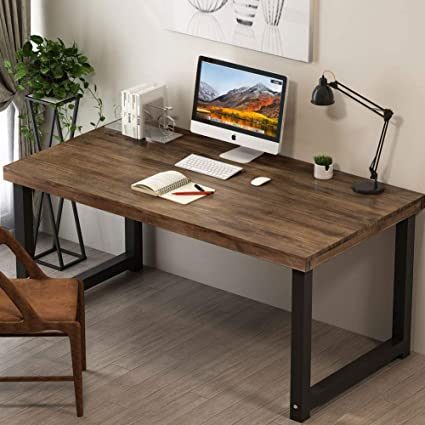 Beau Tribesigns 55u0026quot; Rustic Solid Wood Computer Desk, Vintage Industrial Home  Office Desk Workstation PC