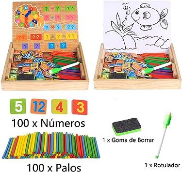Juguetes Educativos para Niños Rompecabezas Matemáticas Caja Magnética Digital de Madera Caballete de Dibujo Pizarra con 100 Palos de Enumeración de Colores 100 Tarjetas del Número y un Reloj: Amazon.es: Juguetes y