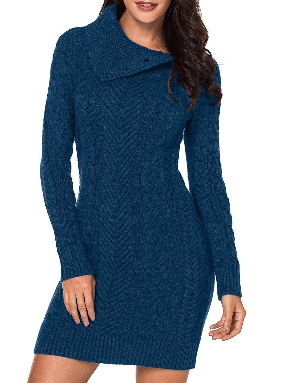 BLENCOT Women Long Pullover Sweater Full Sleeve Asymmetric Collar Slim Mini Sweater Dress Peacock Blue Medium by BLENCOT