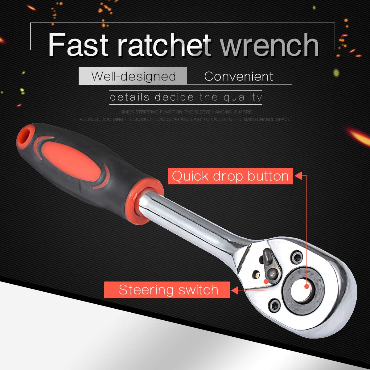 24 Teeth Chrome Vanadium Steel Drive Pear Head Quick Released Ratchet Handle and Extension Bar KATUR Ratchet Wrench for Socket 1//4 Inch Wrench 155mm Length