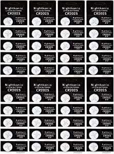 40 pcs Pack - CR2025 Battery 3v Lithium Button Cell Coin 2025 Battery Nightkonic