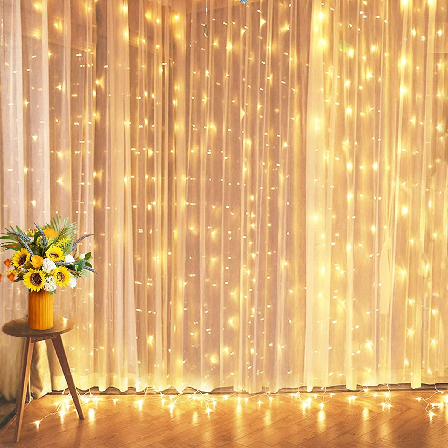 10ft 300 LED Xmas Window Curtain String Lights 8 Modes Party Wedding Wall Decor