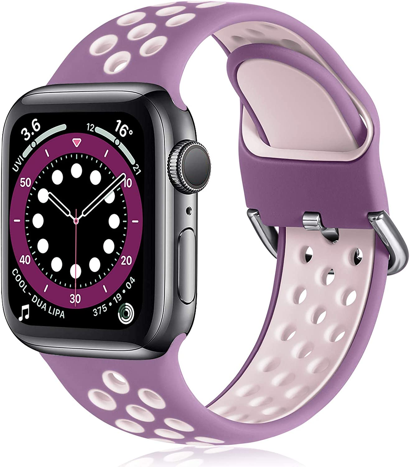 Witzon Compatible with Apple Watch Band 38mm 40mm Soft Silicone Waterproof Breathable Replacement Wristband Sport Bands for iWatch Series 1/2/3/4/5/6/SE Women Men, Purple Pink, S/M
