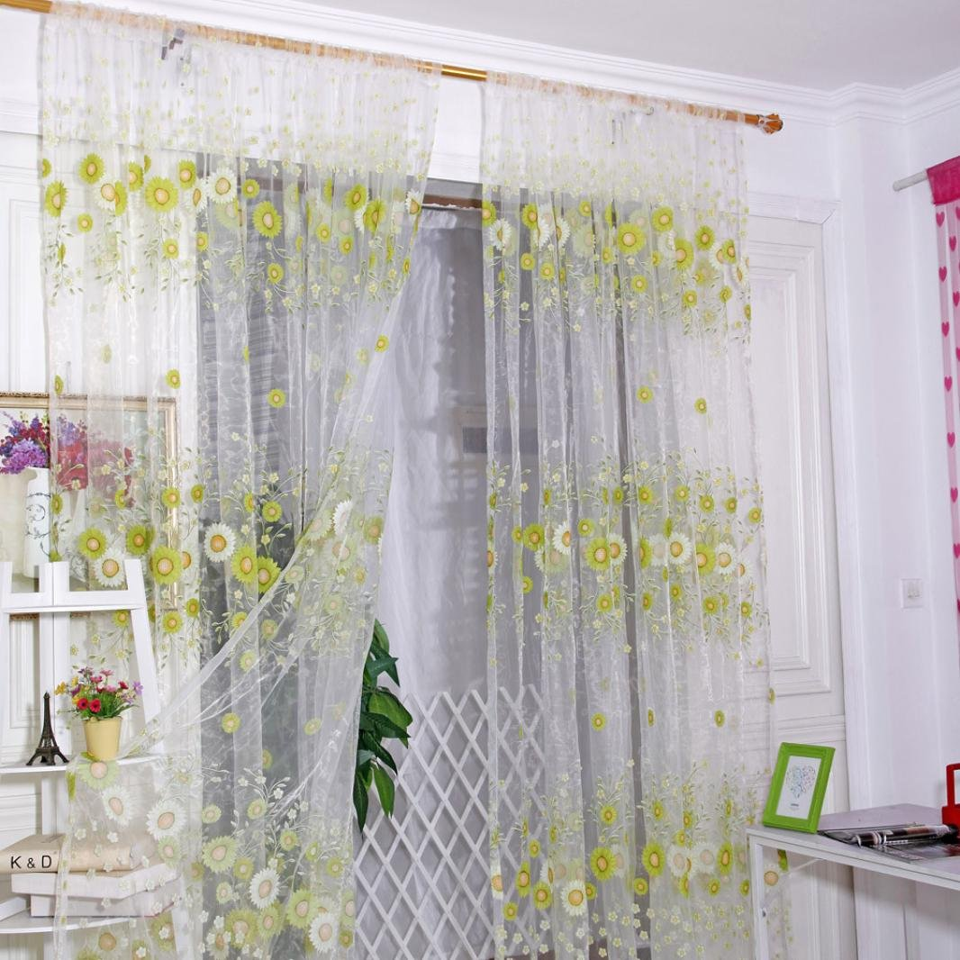 Bovake Sunflower Sheer Curtain Tulle Window Treatment Voile Drape Valance 1Panel Fabric (A)