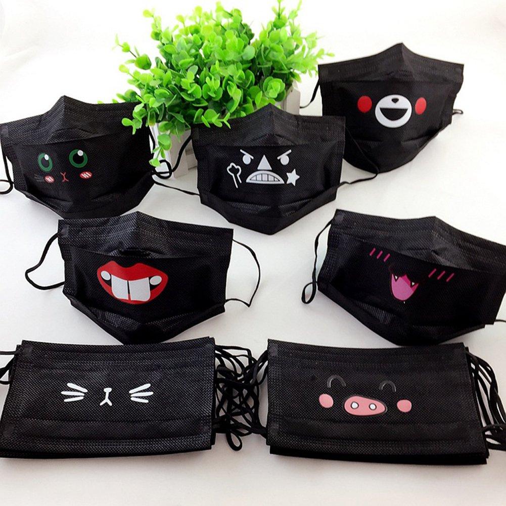 10PCS Disposable Black Mischievous Breathable Mouth Mask Anti-Dust Face Masks 7th Heaven Argan Oil Mud Face Mask, 0.5 Oz.