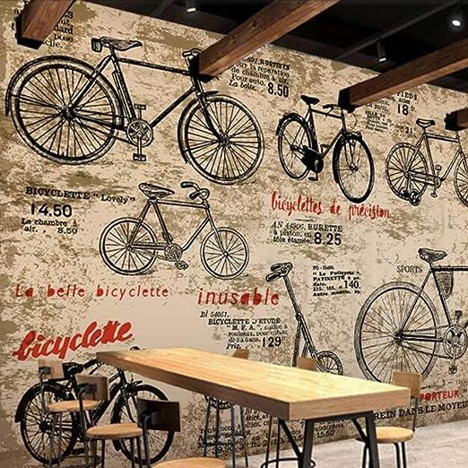 Cucsaist Papel Tapiz Mural 3D Retro Salón De La Bicicleta Sofá ...
