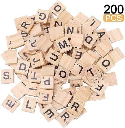 Azulejos de Scrabble para Manualidades, Letras de Madera, Cartas de Scrabble, Juegos educativos y Azulejos de Madera, Juego de decoración de Pared para Todas Las Edades: Amazon.es: Juguetes y juegos