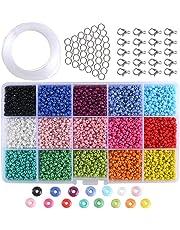ba84954429e4 ETSAMOR Conjunto de Cuentas de Colores 3 mm Perlas de Vidrio Perlas de  Potro Mini Cuentas
