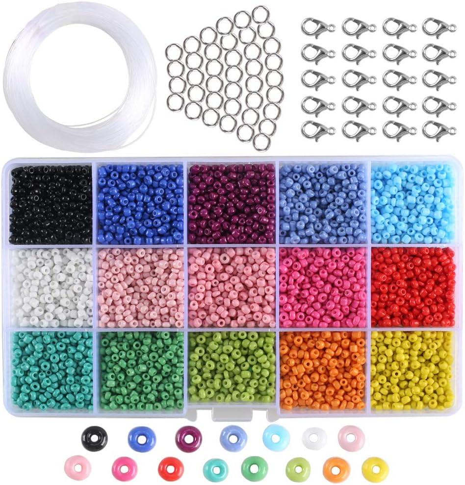 ETSAMOR Abalorios para Hacer Pulseras, Cuentas de Colores 3 mm Perlas de Vidrio Perlas de Potro Hechas a Mano Mini Cuentas para Hacer Collares Joyas DIY Regalo Cadena