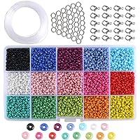 ETSAMOR Conjunto de Cuentas de Colores 3 mm Perlas de Vidrio Perlas de Potro Mini Cuentas para Hacer Joyas de Bricolaje Collares Pulseras Bijouterie Regalo para niños
