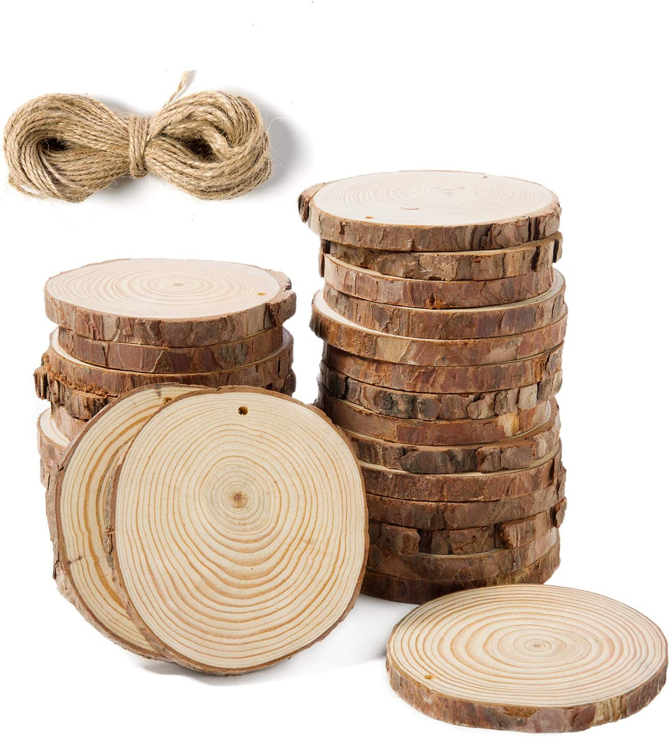 """Sunshine Natural Wood Slices 20 Pcs 3.5""""-4"""" Craft Unfinished Wood with Pre-drilled Hole and 20 Feet Twine String for Arts Wood Slices Christmas Ornaments DIY Crafts"""
