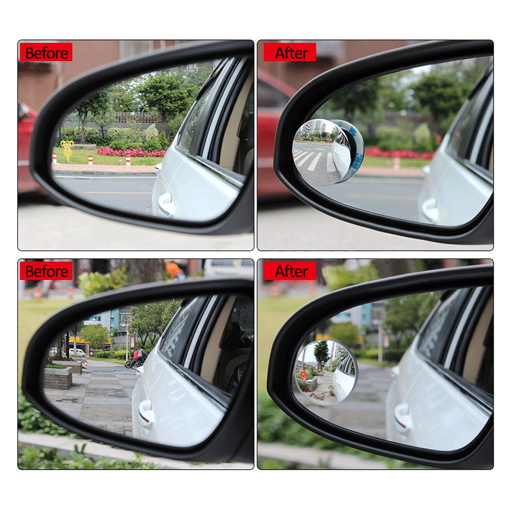 Blind Spot Mirror for Cars LIBERRWAY Blind Side Mirrors HD Glass Side Mirror Blind Spot Frameless Convex Rear View Mirror for Car SUV Stick on Design