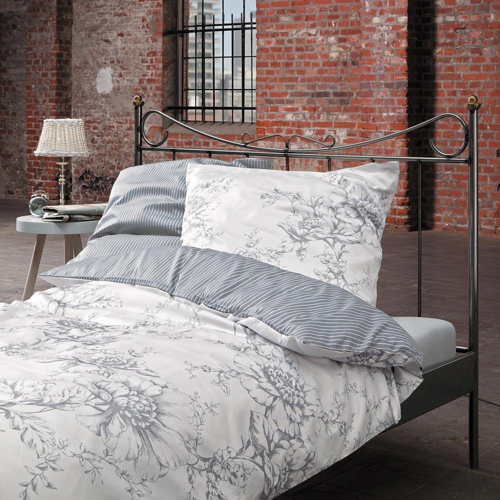 Zeitgeist Bettwäsche 5328 in Übergröße Mako-Satin   100% Baumwolle Wendebettwäsche grau weiß Blumenmuster   4 teiliges Set aus Deckenbezug 200x200cm und Zwei Kissenhüllen 80x80cm   Reißverschluss